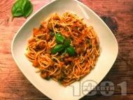 Спагети Арабиата с домати и люти чушки и лют пипер